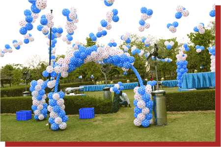 kanchan kesari village resort jaipur birthday party blue balloon decoration