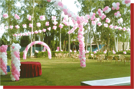 kanchan kesari village resort jaipur birthday party pink balloon decoration